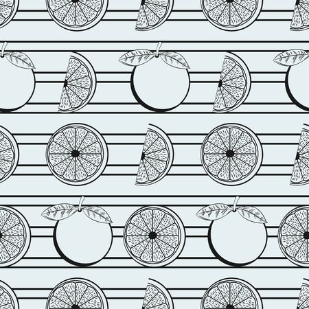 Black and White Orange Seamless Pattern With Black Stripes Ornament. Unique and Trendy irregular seamless pattern background for your unique design.