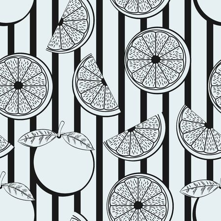 Black and White Orange Irregular Seamless Pattern With Black Stripes Ornament. Unique and Trendy irregular seamless pattern background for your unique design.