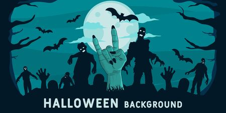 Unique and Trendy Halloween Banner or Poster with Zombie Hand Coming Out of the Ground. Unique and Trendy Banner or Poster Background For Your Unique Design.