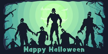 Unique and Trendy Halloween Wide Banner or Poster with Silhouette of Zombies. Unique and Trendy Wide Banner or Poster Background For Your Unique Design.