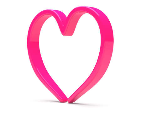 Pink abstract heart isolated on white background