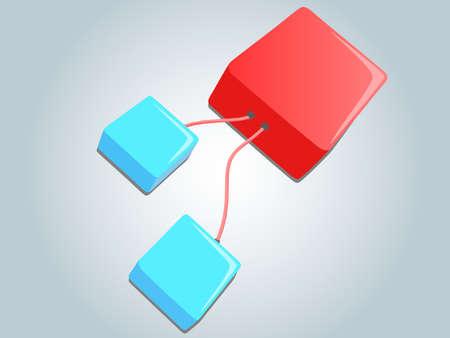 Linked cubes illustration