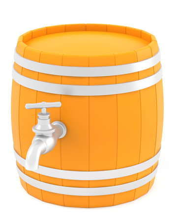 Barrel with the tap isolated on white background  photo