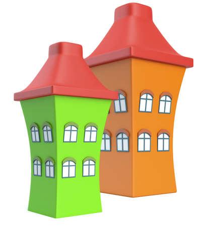 Cartoon styled houses isolated on white background Stock Photo
