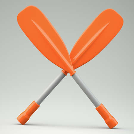 Two oars on grey background