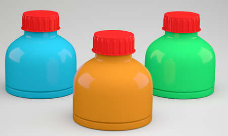Three blank plastic containers on grey background. 3d illustration Stock Photo