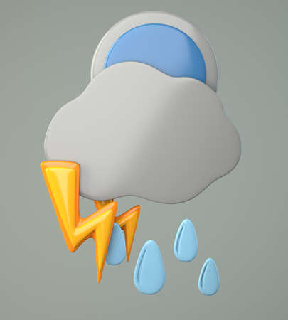 Dark cloud with raindrops, full moon and lighting on grey background. 3d illustration illustration