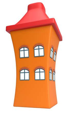 Cartoon styled house isolated on white background Stock Photo