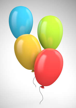 Four colored balloons. 3d illustration