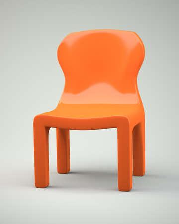 Orange cartoon-styled chair. 3d illustration Stock Photo