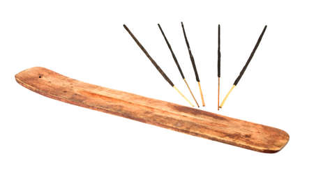 Incense stick with wooden holder isolated on white background