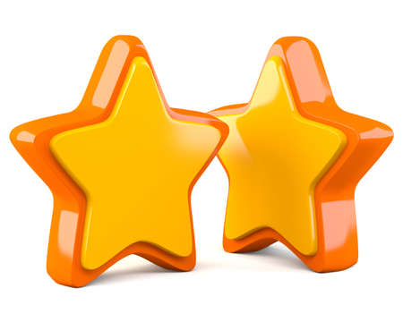 Two golden stars isolated on white background