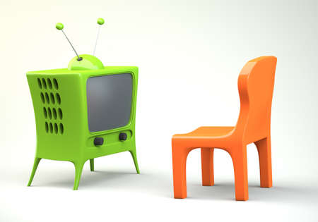 Cartoon-styled tv with chair. 3d illustration illustration