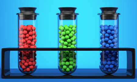 Test tube with red, green and blue spheres on blue background. 3d illustration