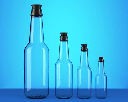 Empty beer bottles on blue background. 3d illustration