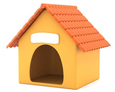 Cartoon styled doghouse isolated on white background  3d illustration
