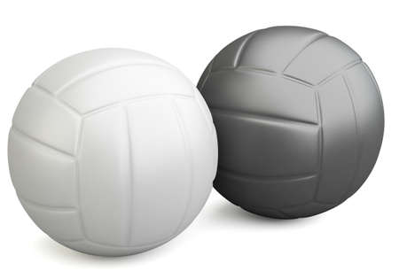 White and black volleyballs isolated on white background. 3d illustration