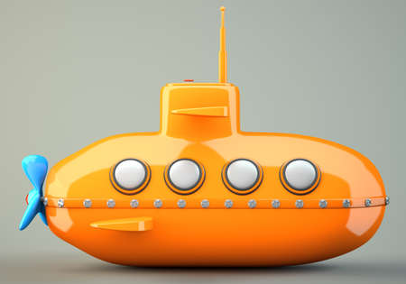 Cartoon-styled orange submarine on grey background. 3d illustration illustration