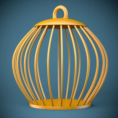 Golden bird cage on dark background. 3d illustration Standard-Bild