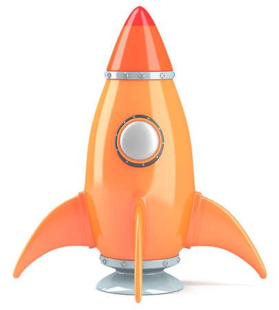 Orange cartoon-styled rocket isolated on white background. 3d illustration illustration