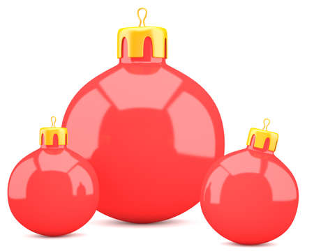 Red christmas balls isolated on white . 3d illustration illustration