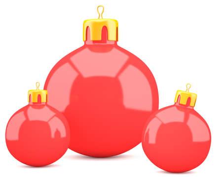Red christmas balls isolated on white . 3d illustration Stock Illustration - 23012783