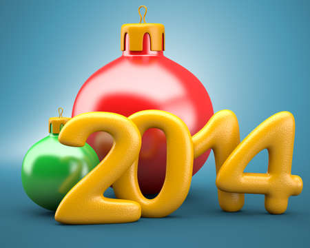 Christmas balls with 2014 digits on blue . 3d illustration illustration