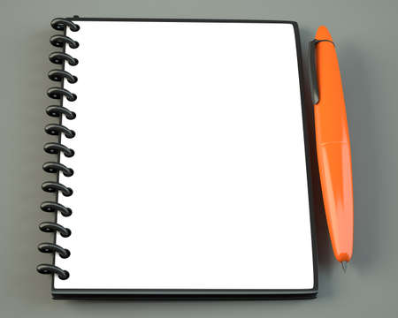 Blank notepad with orange pen on gray background. 3d illustration