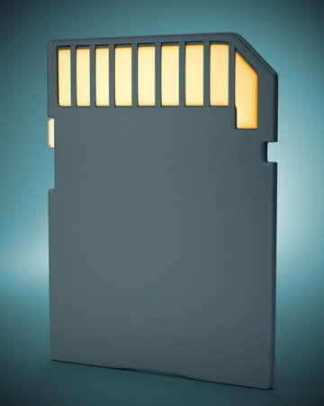 Memory flash card on dark background  3d illustration