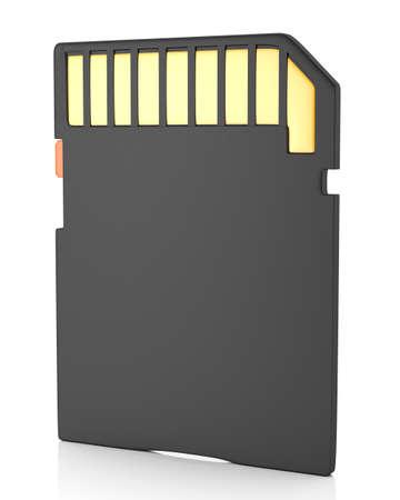 secure backup: Memory flash card isolated on white background  3d illustration Stock Photo