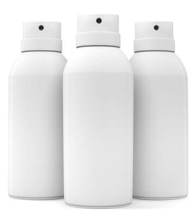 Three blank spray cans isolated on white background  3d illustration Stock Photo
