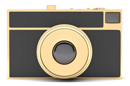 Retro-styled golden photo camera isolated on white background. 3d illustration Stock Photo