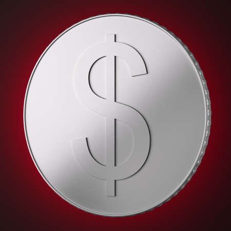 Silver coin with dollar sign on dark red background. 3d illustration Stock Photo