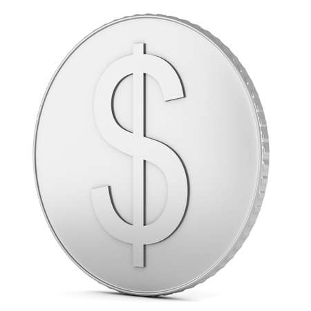 Silver coin with dollar sign isolated on white background. 3d illustration