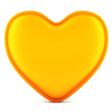 Orange abstract heart isolated on white background. 3d illustration Stock Photo