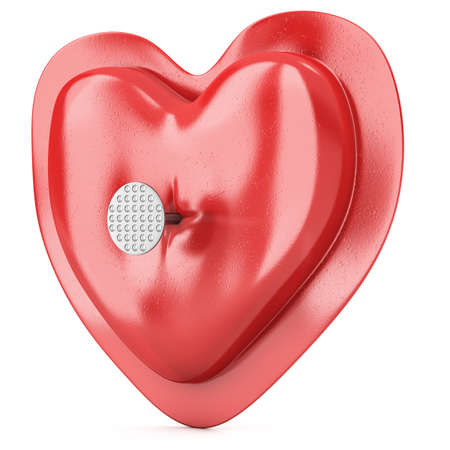 pierced: Heart pierced by a nail isolated on white background. 3d illustration Stock Photo