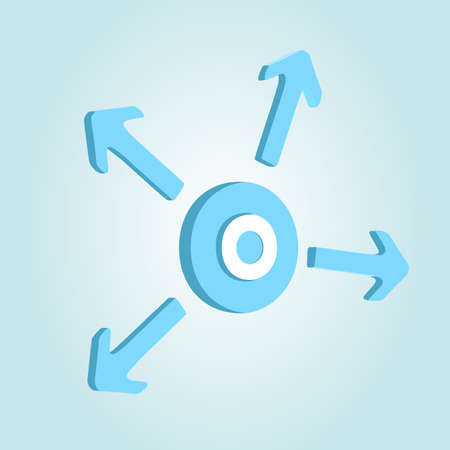 Circle with four arrows on blue background