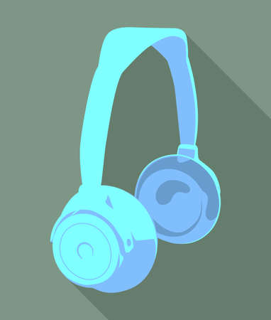 Headphone icon with long shadow on dark background   Illustration