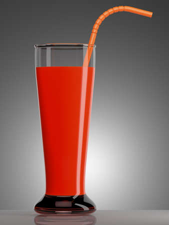 tubule: Red juice in glass with a tubule on dark grey background. 3d illustration Stock Photo