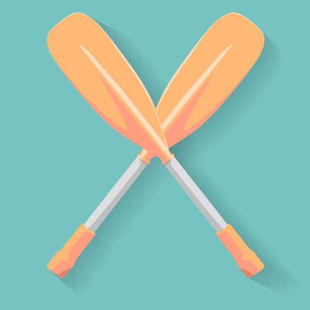 Two cross sport oars  vector illustration Illustration