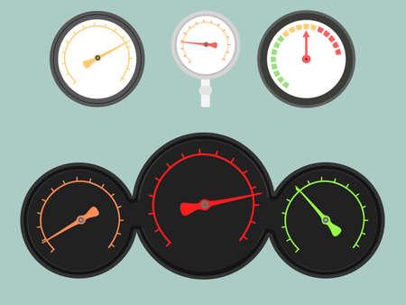 Set of four gauges  Vector illustration Illustration