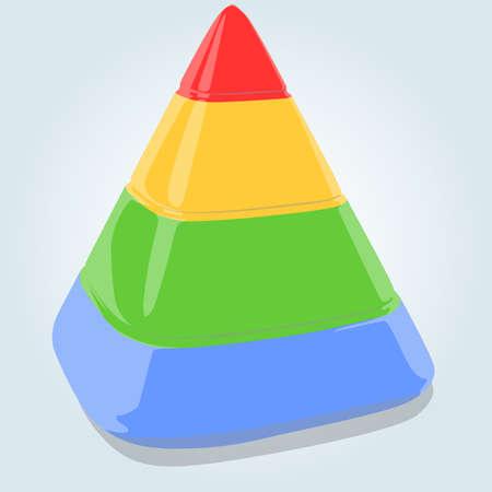 pyramidal: Four layers pyramid on bright blue background