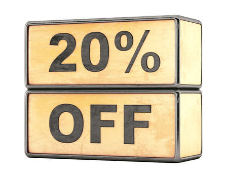 20 percent sale discount text on grunge boxes photo