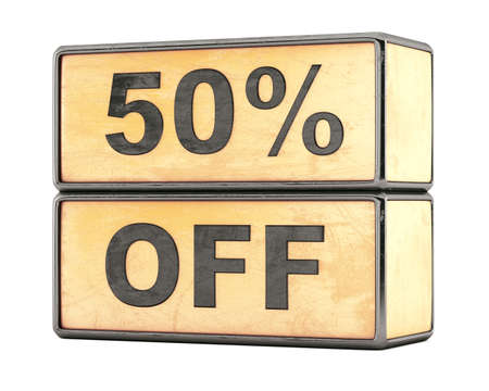 50 percent sale discount text on grunge boxes photo