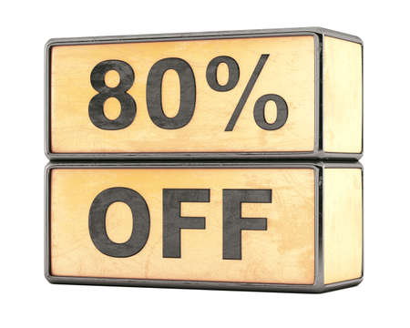 80 percent sale discount text on grunge boxes