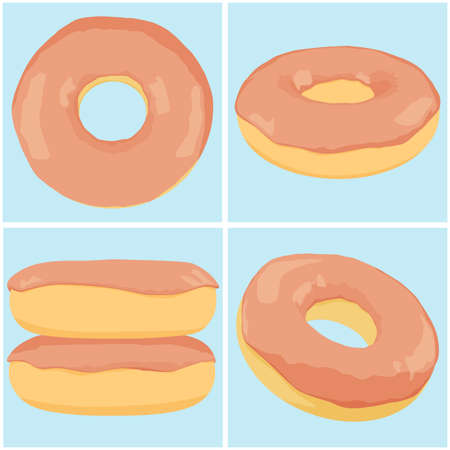 Set of chocolate donuts. EPS 10 vector illustration