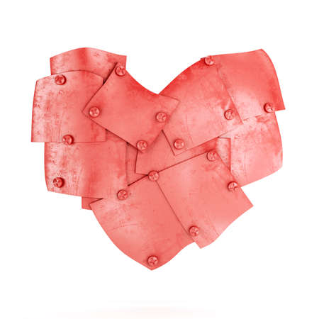heavy heart: Red metal plates in abstract heart shape isolated on white background. 3d render Stock Photo