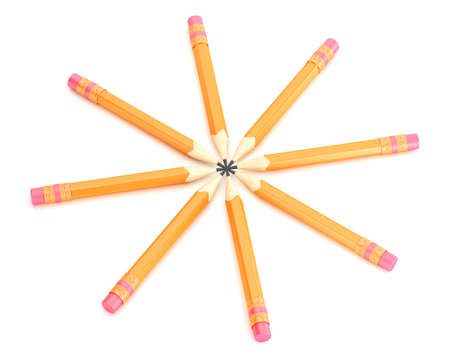 sharpen: Orange pencils with erase isolated on white background. 3d render Stock Photo