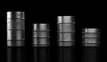 Four grunge oil barrels on dark background. 3d render