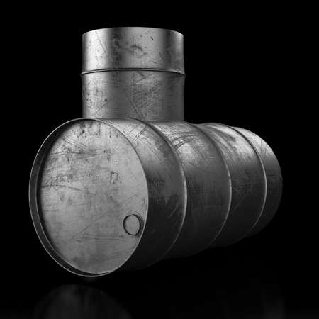 Grunge oil barrel on dark background. 3d render